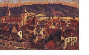 """""""Vue sur Chambon de la colline"""" - 1950 - aquarelle (34x50)"""