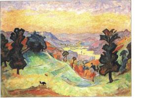 """""""Paysage creusois"""" - 1960 - huile (60x46)"""