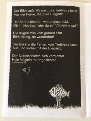 Gedicht von der Delmenhorster Schriftstellerin Katy Buchholz auf schwarzem Hintergrund