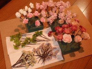 プリザーブドフラワー花冠の用意する材料