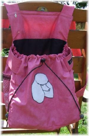 Bauchrucksack in pink mit schwarz