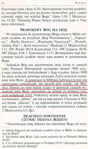 Wiedza, która prowadzi do życia wiecznego, Watch Tower Bible And Tract Society Of Pennsylvania, 1995, strona 24