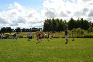 Die Rasenfläche befindet sich auf der Sonnigen Südseite und kann für Spiele benutzt werden. Spielplatz für Kleinkinder.