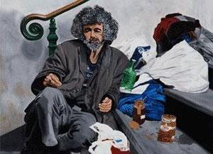 Obdachloser Öl auf Maltuch 120cm x 90cm ( nicht zu verkaufen )