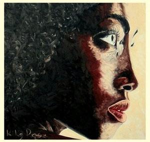 Selma Öl auf Seide 100cm x 100 cm