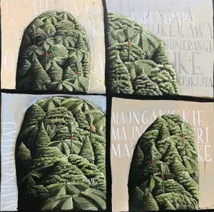 'Volcanoes Auckland', 50 x50 cm, oil on canvas 2018