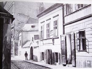 Die Floßgasse um 1890, in der Bildmitte Floßgasse 7, das Geburtshaus von Johann Strauß,  ganz links das mehrstöckige Haus, die Nr 3. Hier haben Rebekka und Naphtali Rubin zuletzt gewohnt.