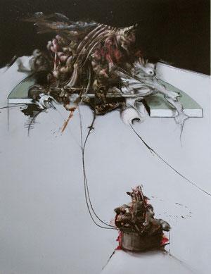 Acrylique/pastel/fusain sur toile Dim: 197cmx130cm
