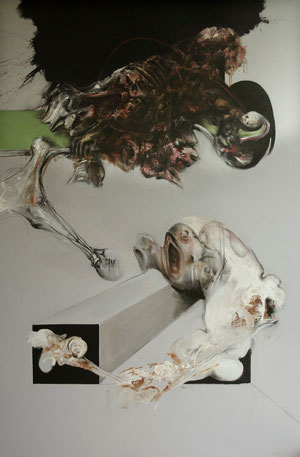 Acrylique/pastel/fusain sur toile Dim :197cmx130cm