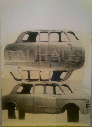 Alfons Egger Collage 2013 100x70cm Fotokopie Acrylfarbe Shellack