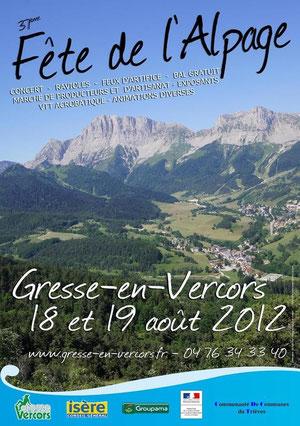 Affiche Fête de l'Alpage Gresse en Vercors 18 et 19 aout 2012