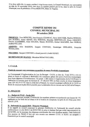 Augmentation lors du conseil municipal du 4 octobre 2010