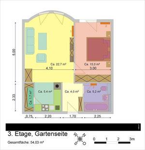Muster für die Grundrisserstellung mit Einrichtungsvorschlag