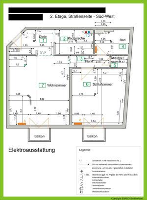 Muster für einen Grundriss mit Abmessungen und Lage der Steckdosen etc.