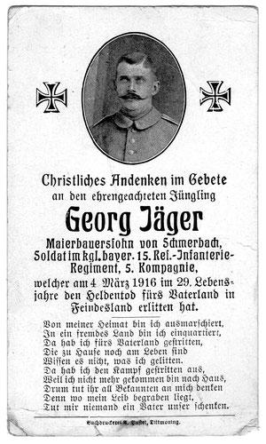 Sterbekarte des Infanteristen Georg Jäger aus Schmerbach, gefallen am 04.März 1916, bestattet auf dem Soldatenfriedhof in Labry