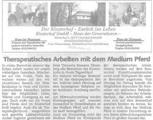 Klosterhof GmbH Therapeutisches Arbeiten mit dem Medium Pferd