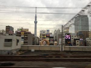電車から見たスカイツリー。