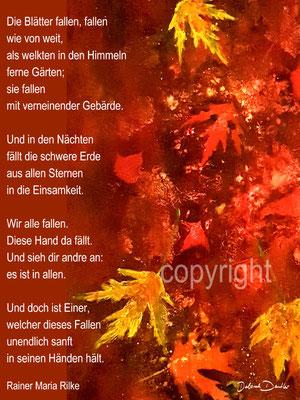 Die Blätter fallen, Rilke Gedicht rot, gelbe Blätter