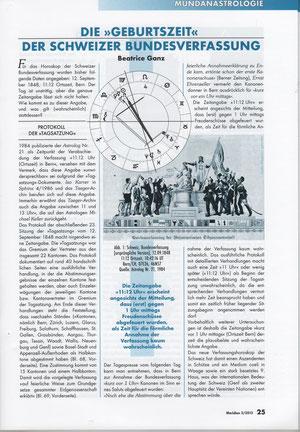 """Die """"Geburtszeit"""" der Schweizer Bundesverfassung, Artikel in der Fachzeitschrift Meridian 3/2013, Seiten 25 und 26"""