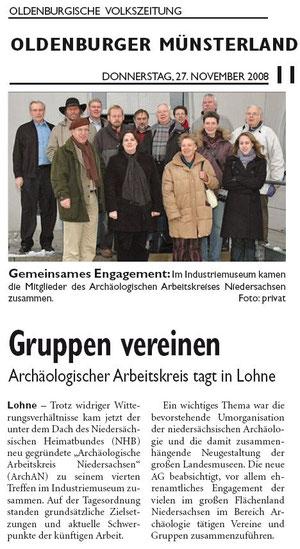 Quelle: Oldenburger Volkszeitung, Vechta -  Artikel vom 27.11.08