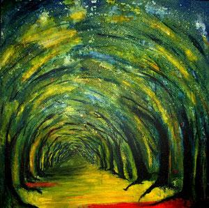 Der Weg Acryl auf Malplatte 60x60cm