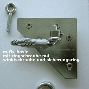 Einfache Bildersicherung. Winkelschraube mit Dübel. M-Fix-Basic mit Ringschraube. Der Sicherungsring wird nach dem Aufhängen angebracht. einrahmungen-guatelli.ch