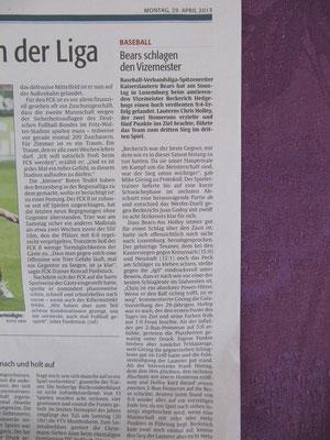 Rheinpfalz 29.04.2013