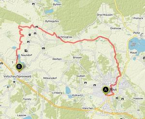 Übersichtskarte Cottbus- Vetschau
