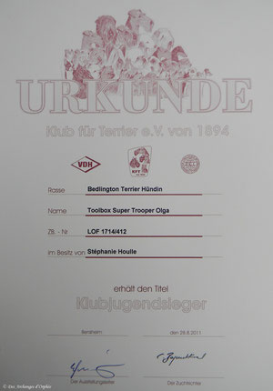 Championne Jeune KfT/Terrier Club Allemand.