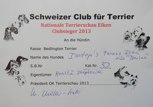 "Diplôme ""Clubsieger 2013""."