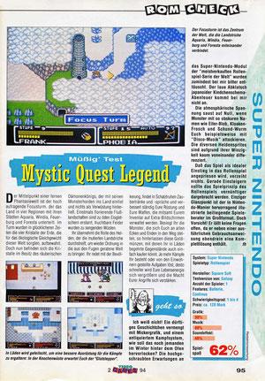Mystic Quest Legend Video Games 2\94