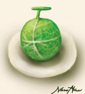 画:皿に乗ったメロン