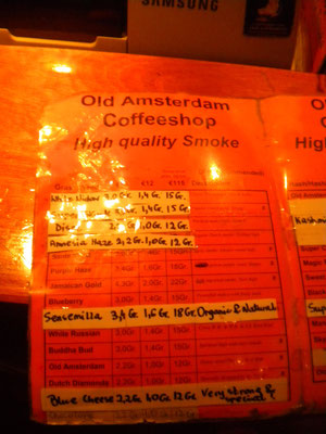 menu coffeeshop old amsterdam