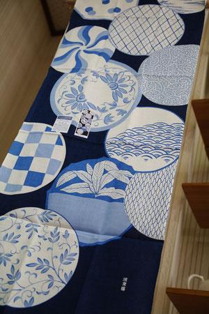 藍染め紋  涼しげな藍色と懐かしい雰囲気の柄がすてきです