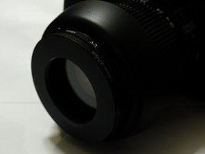 カメラ側にもステップダウンリングを装着。ここでは58-37mm (カメラ側)、37-34mm (顕微鏡側)とした。37mmはRAYNOXのマクロレンズの多くと互換性があるため、それを流用している。