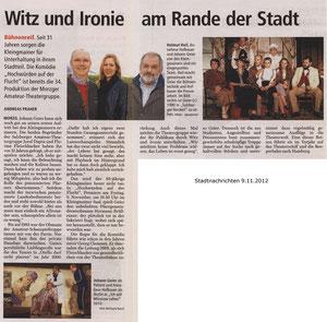 """Die Kleingmainer sind """"bühnenreif"""" (Stadt Nachrichten, 9.11.2012)"""