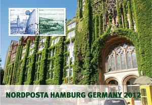 Ausstellungskarte Schweden mit Hamburger Postgebäude
