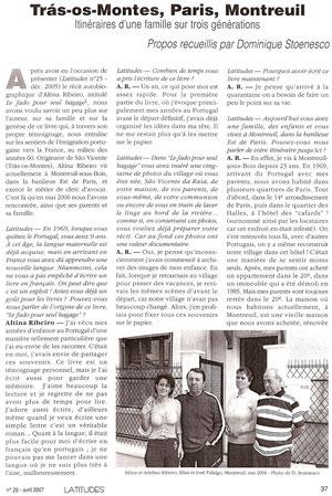 Latitudes, cahiers lusophones n°29 avril 2009
