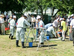 非常用貯水槽からの給水の訓練