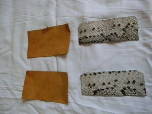 Rectangles en cuir. Au fil de Coline, création d'accessoires en cuir de récupération. Fait main à Montpellier