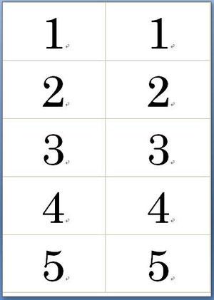 B5用紙、2列5行の 番号札
