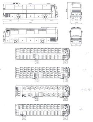 Схема планировки салона автобуса Ikarus 386