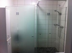 Duschfaltwand mit Abstellraum mattiert