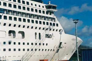 Absturzsicherung - Kreuzfahrtschiff Aurora, Foto: Jürgen Thode