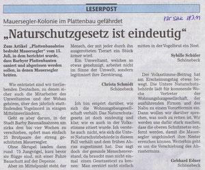 Volksstimme Schönebeck vom 18. Juli 2011