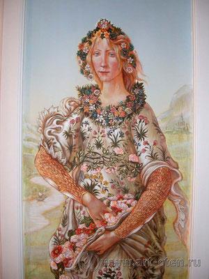Фрагмент Сандро Боттичелли «Весна» в прихожей той же картины поддерживает интерьер в торжественном настроении.