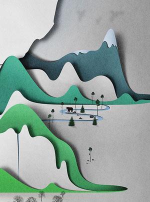 Vertical landscape paper art-15