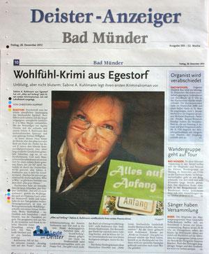 Deister-Anzeiger (Regionalbeilage der HAZ) vom 28.12.2012