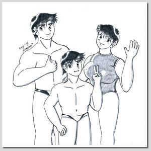 健太郎(17)、龍(13)、真雪(17)
