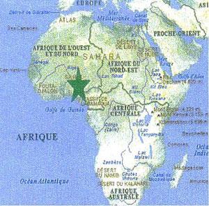 Le Togo se trouve à l'emplacement de l'étoile verte, symbole de l'esperanto